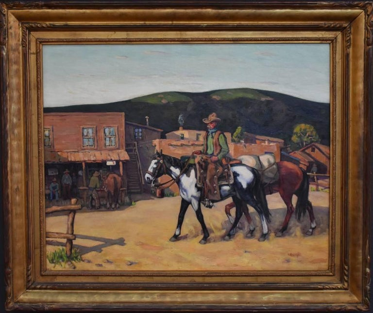 """Fred Darge Landscape Painting - """"Down By The Rio Grande""""  Texas Cowboy Western Scene"""