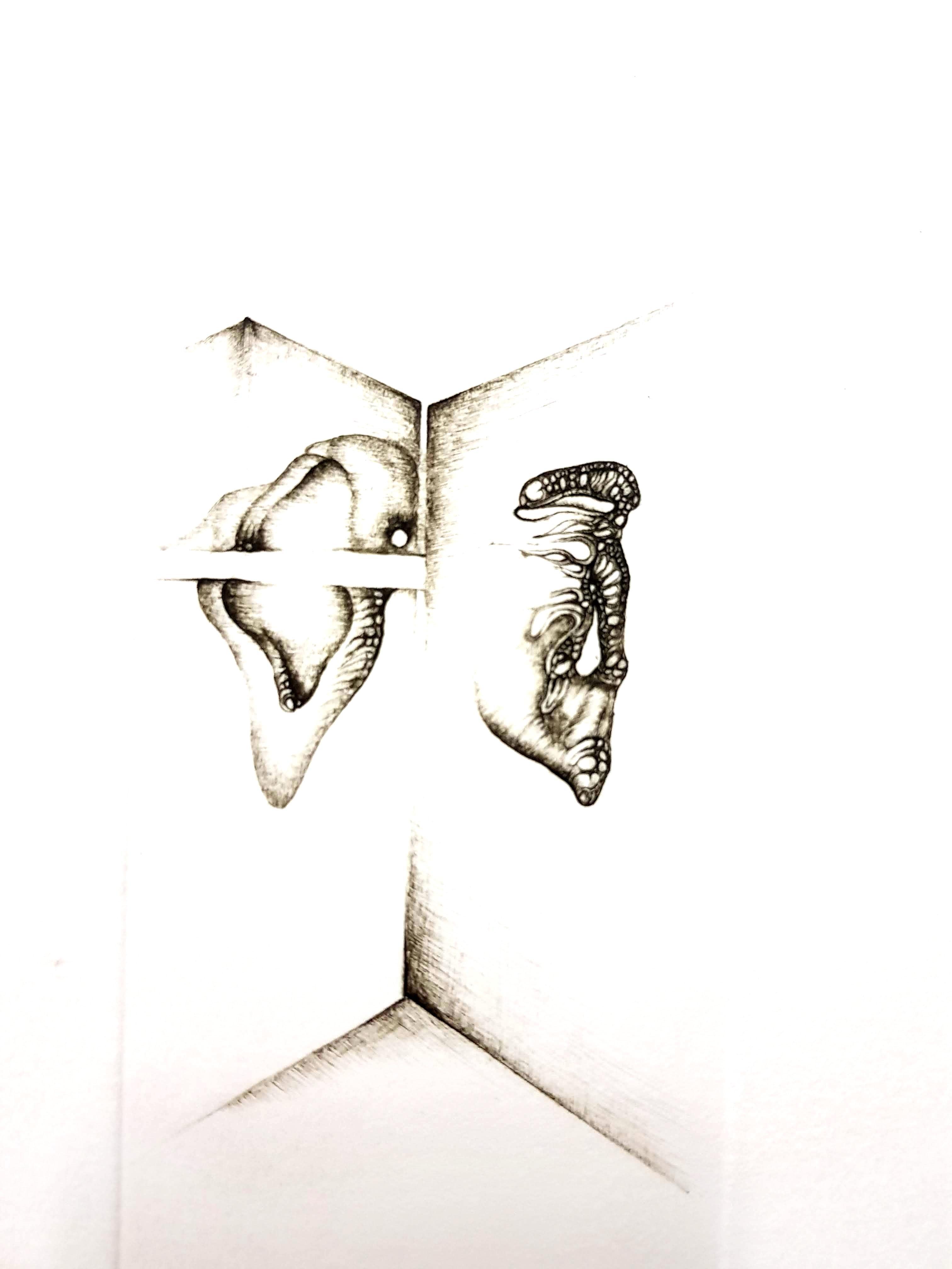 Fred Deux - Grey Surrealism I - Signed Original Etching