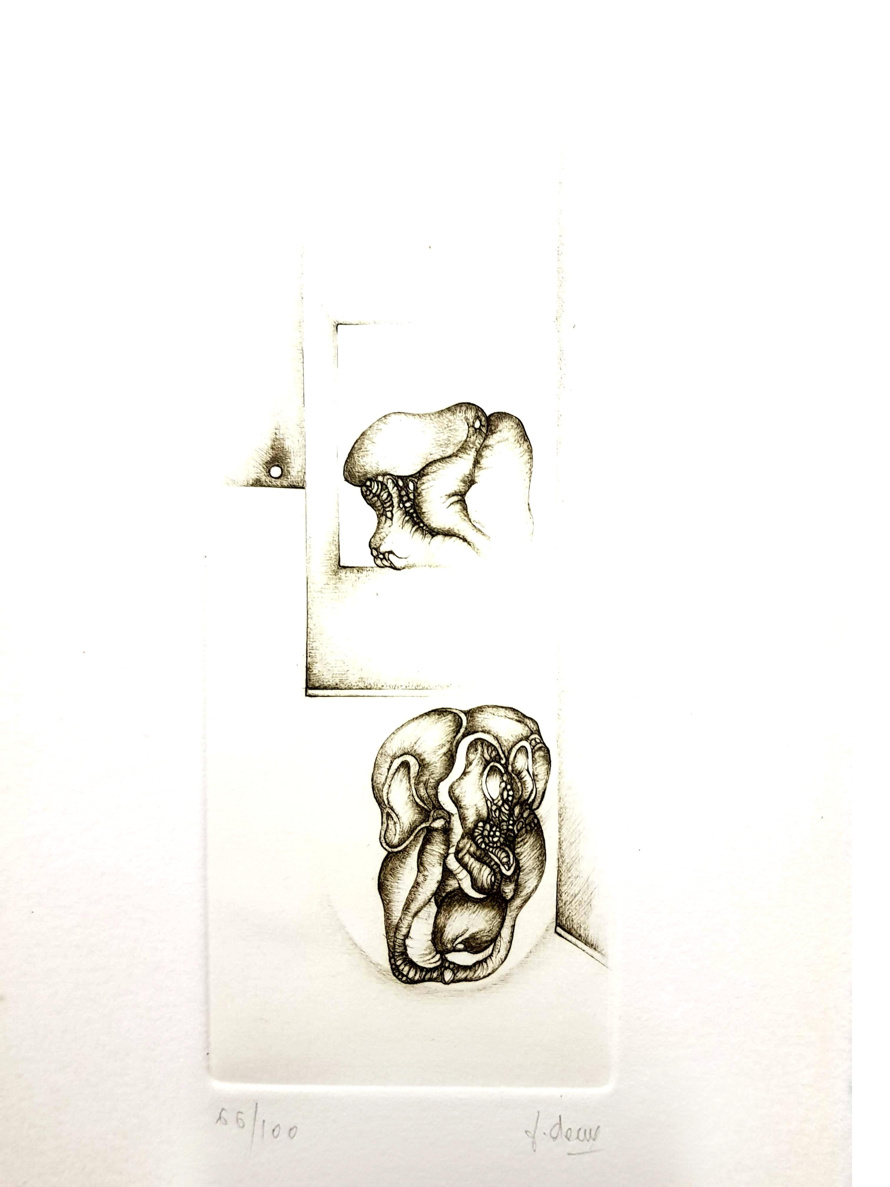 Fred Deux - Grey Surrealism II - Signed Original Etching