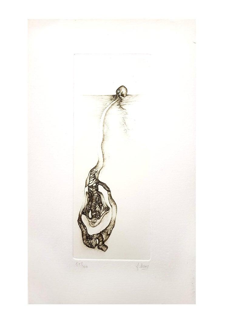 Fred Deux - Grey Surrealism III - Signed Original Etching For Sale 2