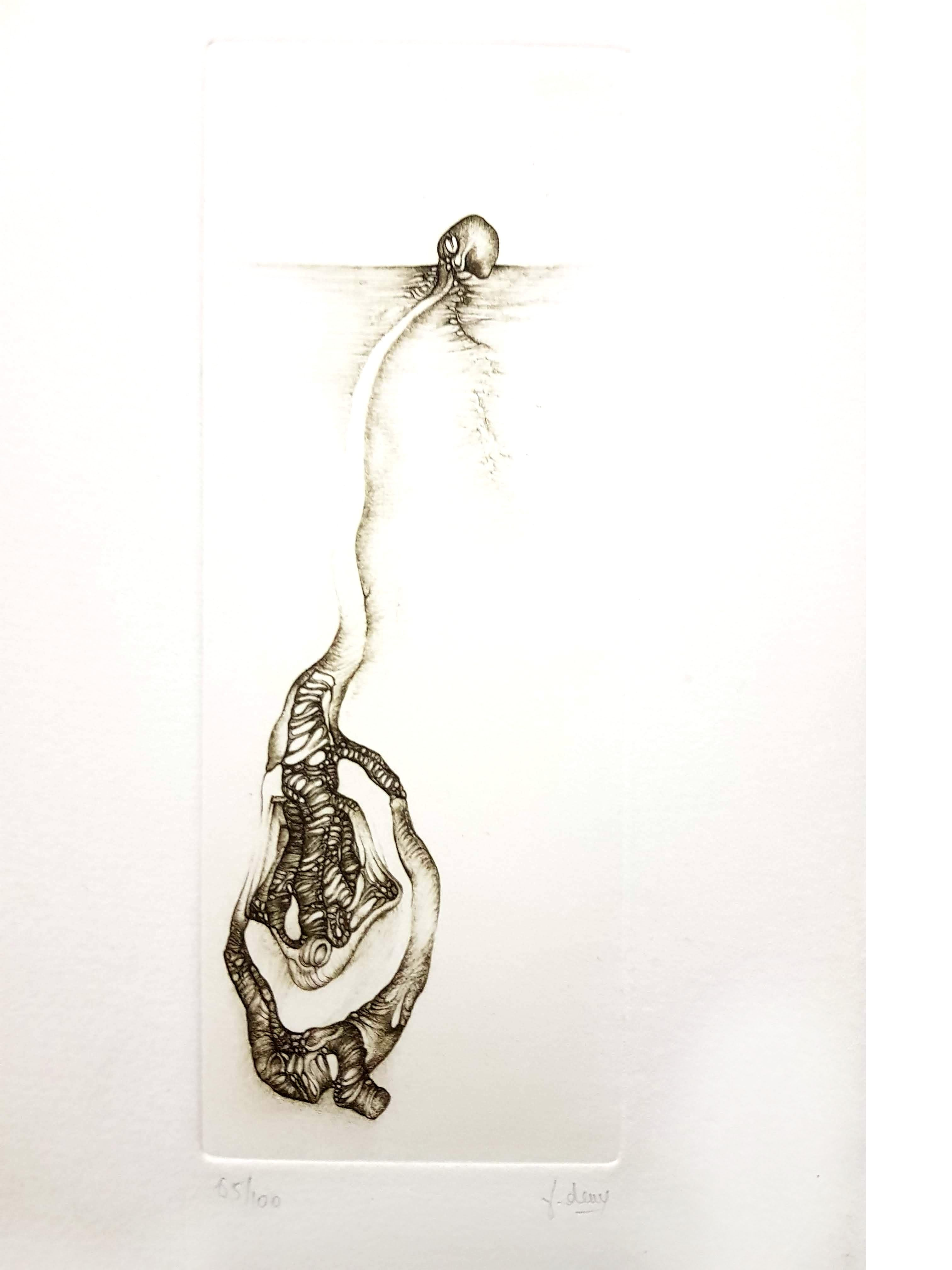 Fred Deux - Grey Surrealism III - Signed Original Etching