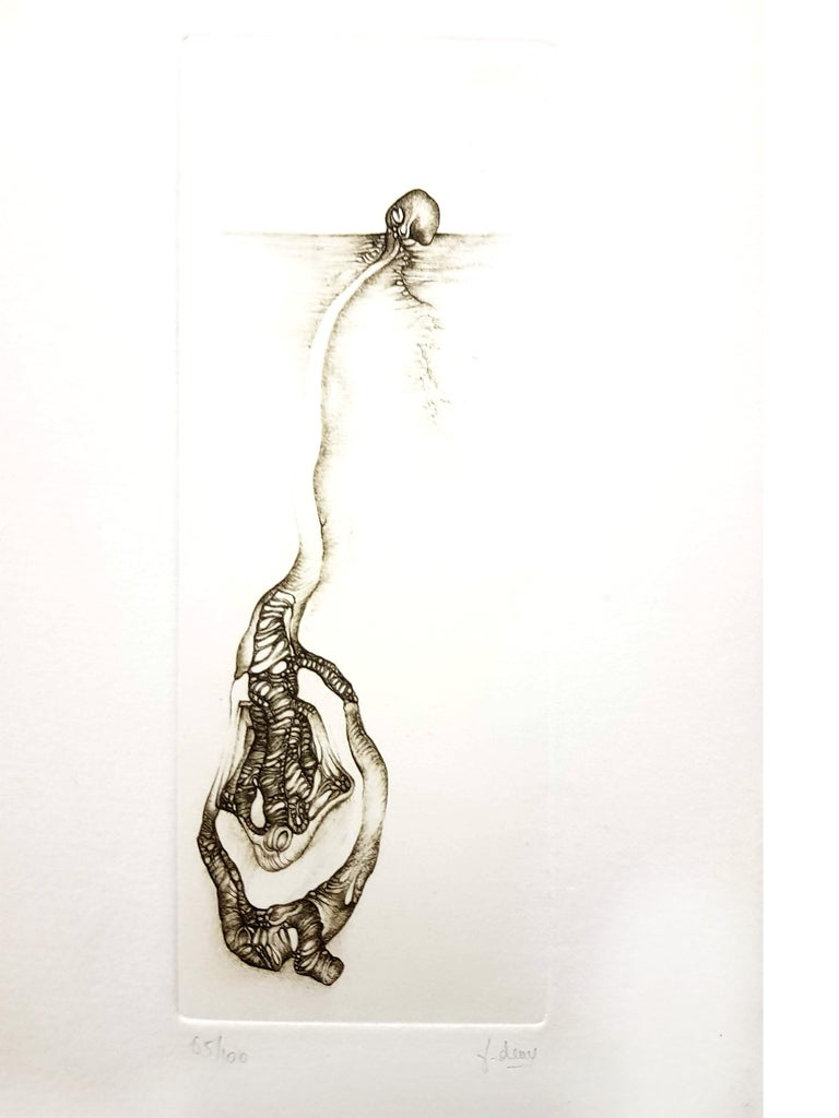 Fred Deux - Grey Surrealism III - Signed Original Etching - Print by Fred Deux
