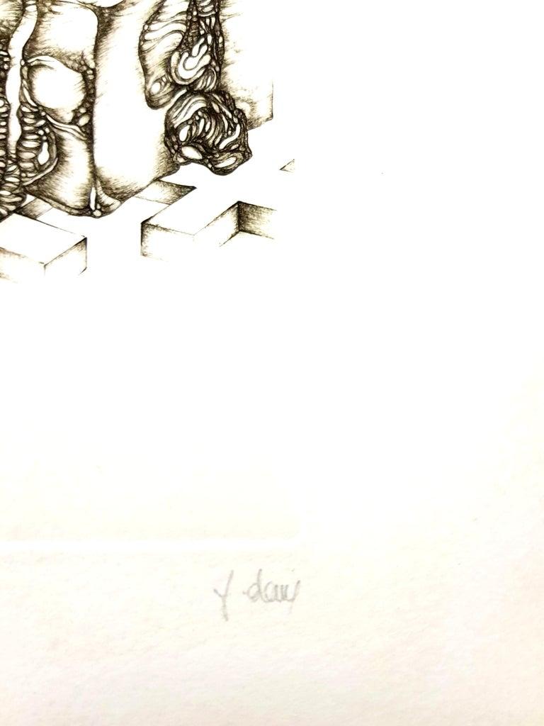 Fred Deux - Grey Surrealism IV - Signed Original Etching - Gray Landscape Print by Fred Deux