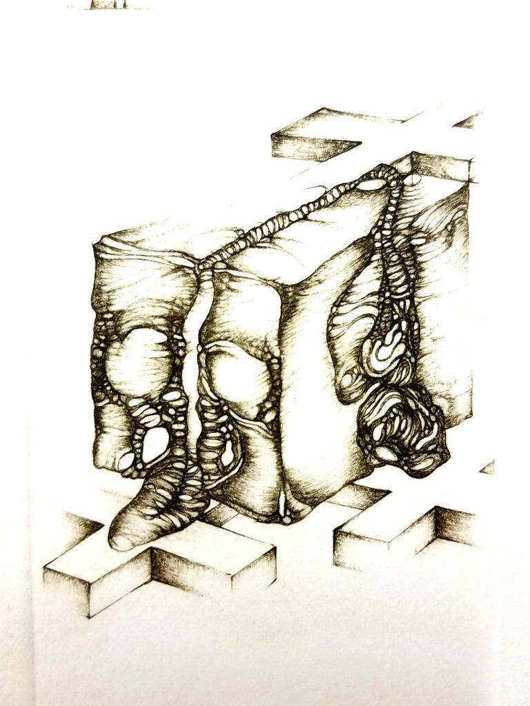 Fred Deux - Grey Surrealism IV - Signed Original Etching For Sale 1