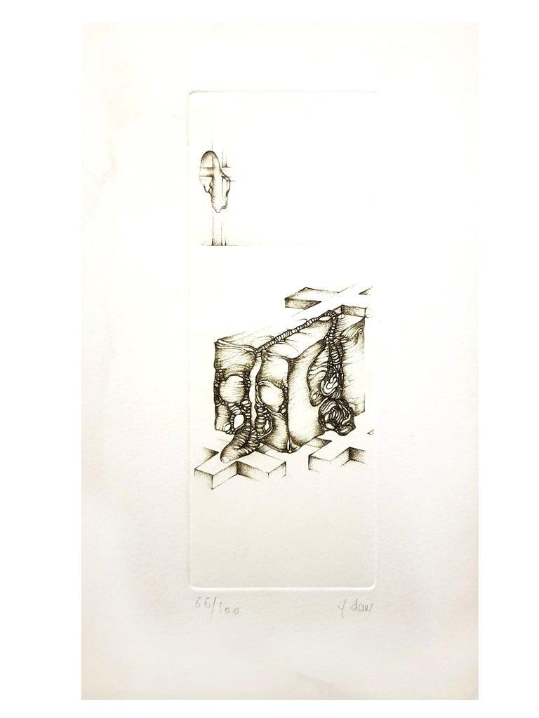Fred Deux - Grey Surrealism IV - Signed Original Etching - Print by Fred Deux