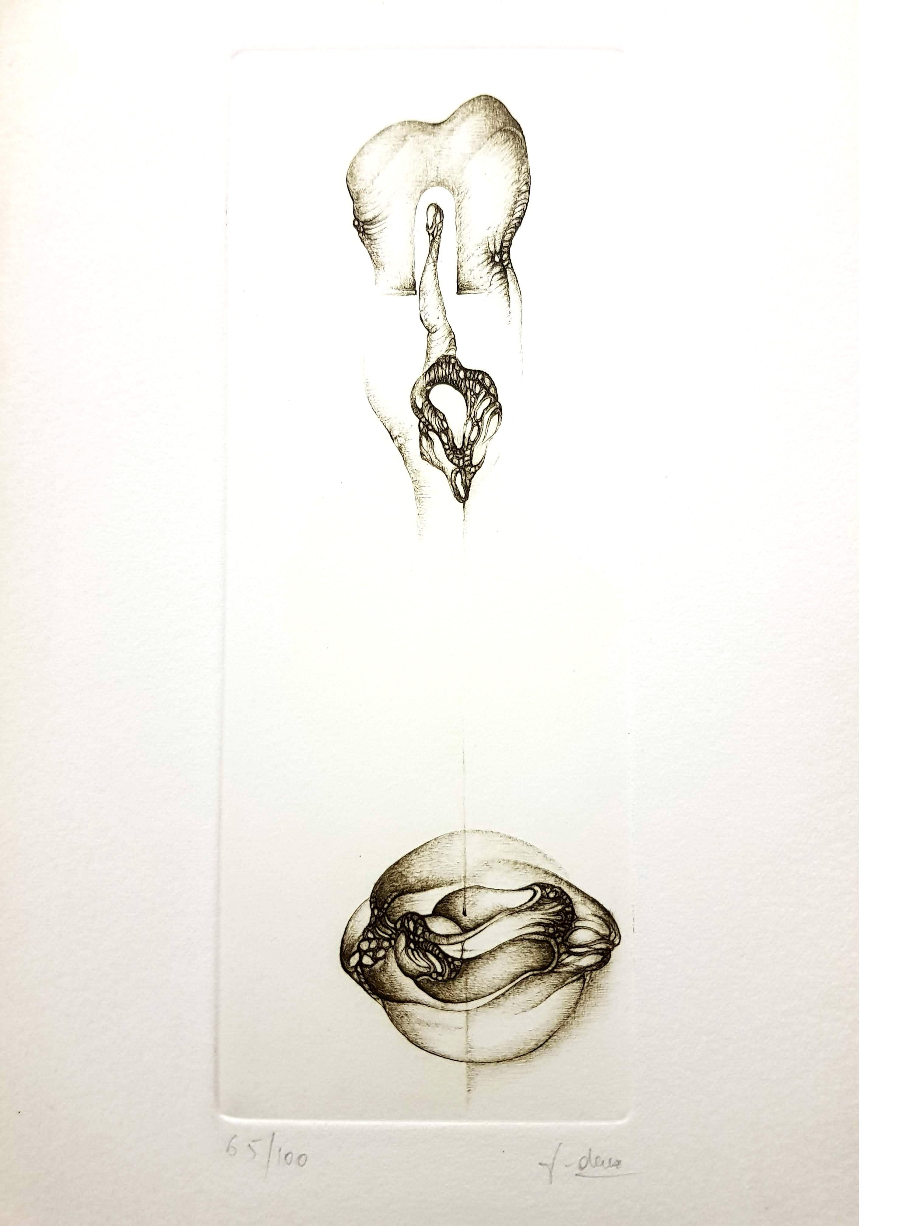 Fred Deux - Grey Surrealism VI - Signed Original Etching