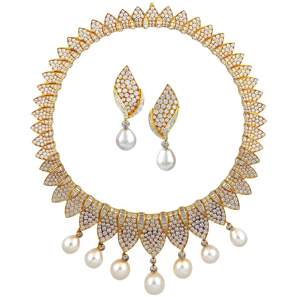 Fred Paris Diamond and Pearl Necklace Suite
