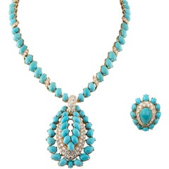 Fred Diamond and Turquoise Ring and Necklace Parure