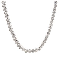 Fred Diamond Tennis Necklace in 17 Karat White Gold IGL Certified 8.55 Carat