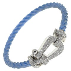 Fred Diamonds 18 Karat White Gold Force 10 Cable Bracelet Large Model