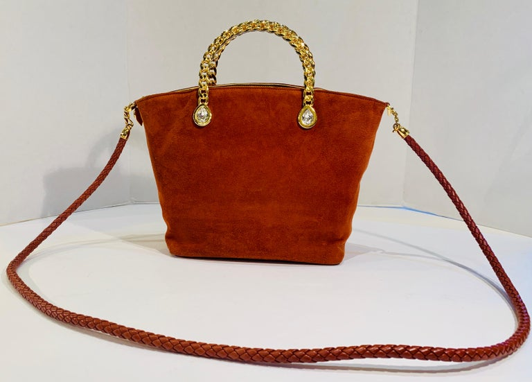 Fred Hayman Beverly Hills 273 Rust Suede and Crystal Embellished Evening Purse  For Sale 5