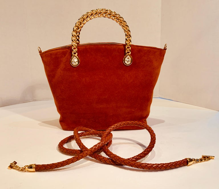 Fred Hayman Beverly Hills 273 Rust Suede and Crystal Embellished Evening Purse  For Sale 6
