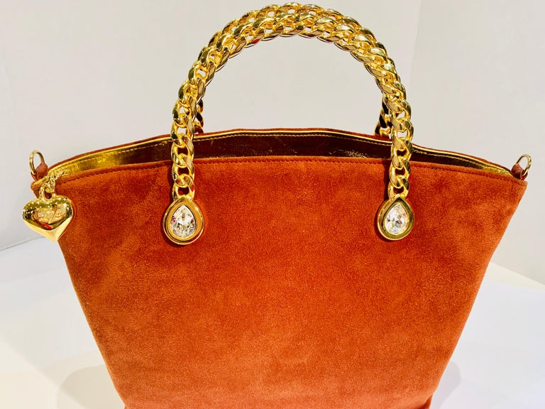 Red Fred Hayman Beverly Hills 273 Rust Suede and Crystal Embellished Evening Purse  For Sale
