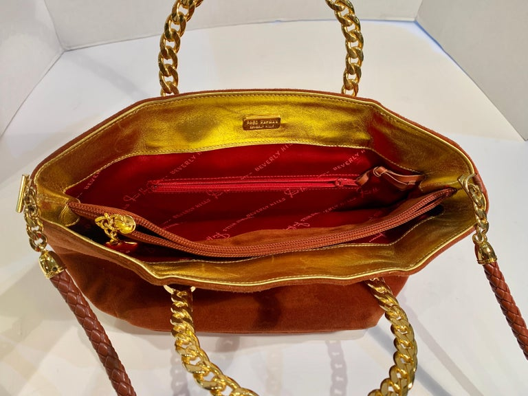 Fred Hayman Beverly Hills 273 Rust Suede and Crystal Embellished Evening Purse  In Good Condition For Sale In Tustin, CA
