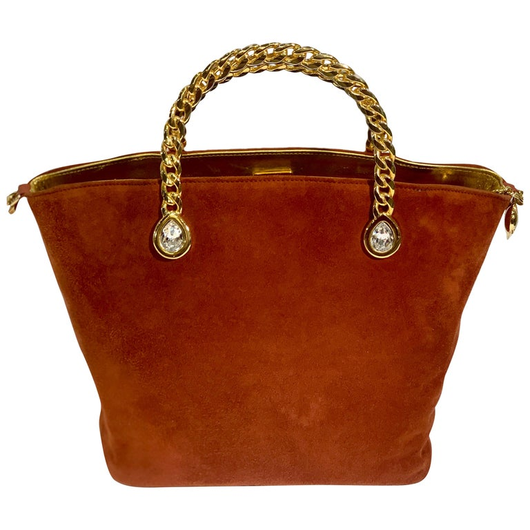 Fred Hayman Beverly Hills 273 Rust Suede and Crystal Embellished Evening Purse  For Sale