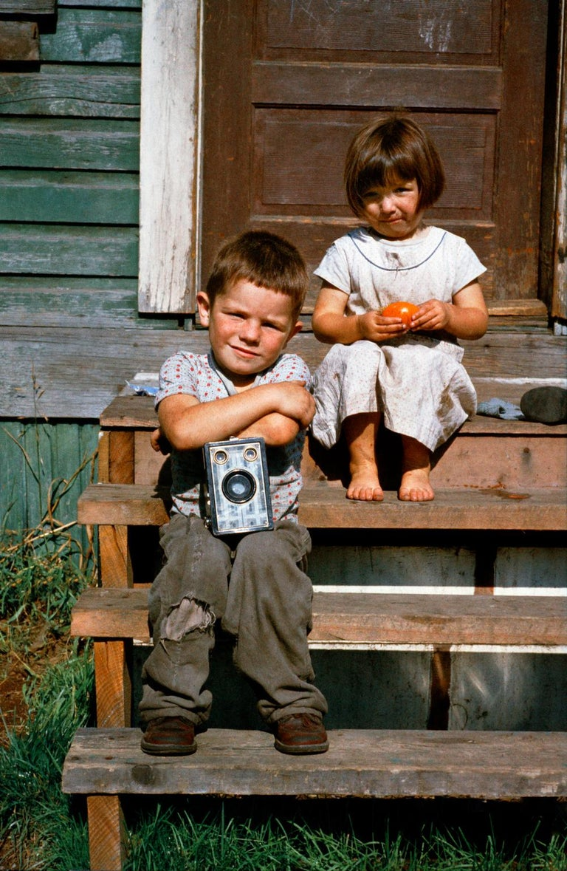Fred Herzog Portrait Photograph - Boy with Box Camera