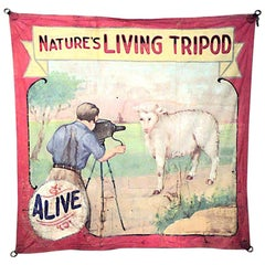 "Fred Johnson-O Henry Tent & Awning Circus Banner ""Natures Living Tripod"""