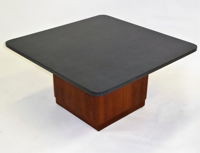 Mid Century Slate Top Walnut Coffee Table by Fred Kemp For Sale 3