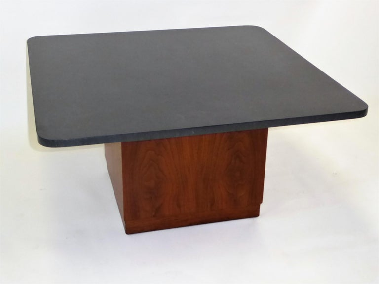 Mid Century Slate Top Walnut Coffee Table by Fred Kemp For Sale 4