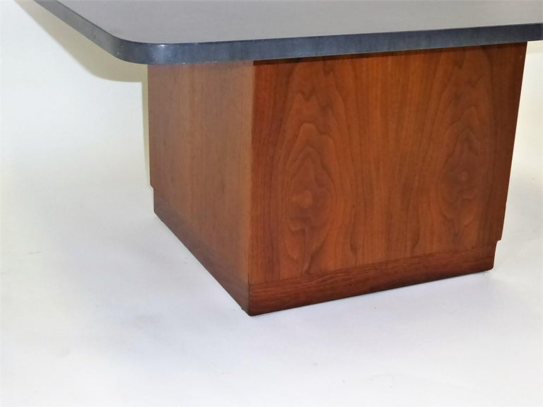 Mid Century Slate Top Walnut Coffee Table by Fred Kemp For Sale 5