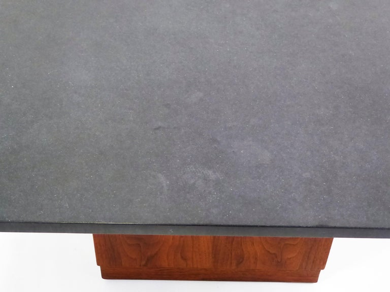 Mid Century Slate Top Walnut Coffee Table by Fred Kemp For Sale 8
