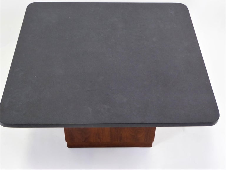 Mid Century Slate Top Walnut Coffee Table by Fred Kemp For Sale 9