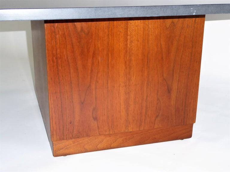 Polished Mid Century Slate Top Walnut Coffee Table by Fred Kemp For Sale