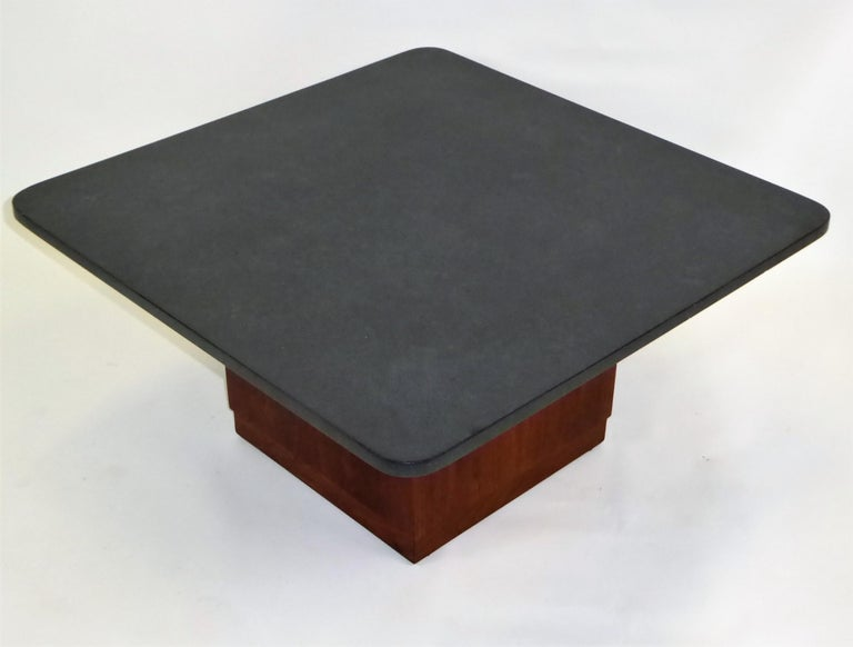 Mid Century Slate Top Walnut Coffee Table by Fred Kemp In Good Condition For Sale In Miami, FL