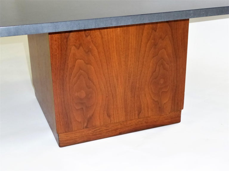 Mid Century Slate Top Walnut Coffee Table by Fred Kemp For Sale 1