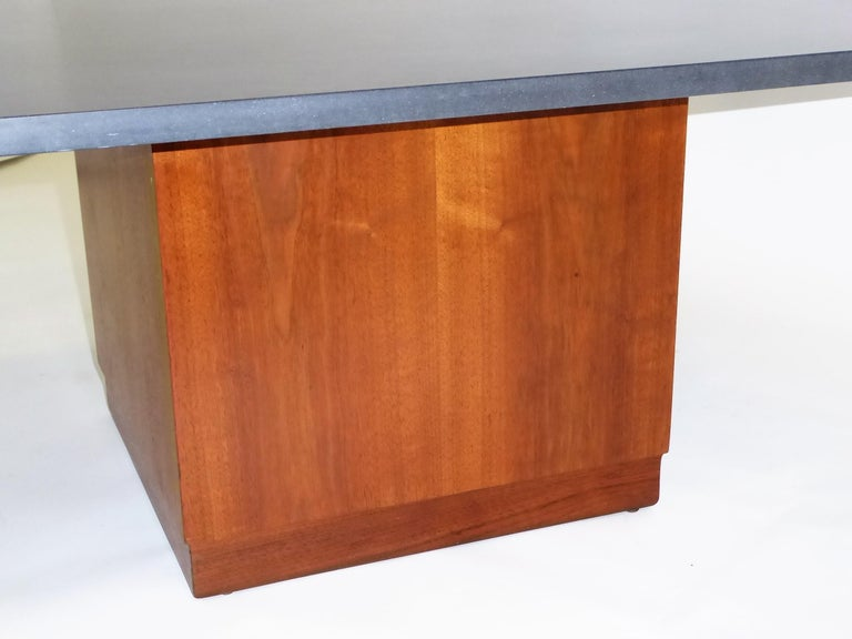 Mid Century Slate Top Walnut Coffee Table by Fred Kemp For Sale 2