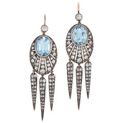 Fred Leighton Aquamarine and Diamond Rayed Dart Earrings