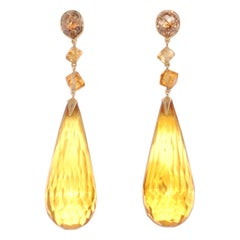 Fred Leighton Cognac Diamond, Amber and Citrine Pendant Earrings