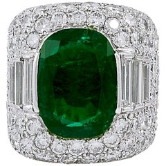 Fred Leighton Diamond and Oval Shaped Emerald Ring