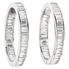 Fred Leighton Diamond and Platinum Hoop Earrings