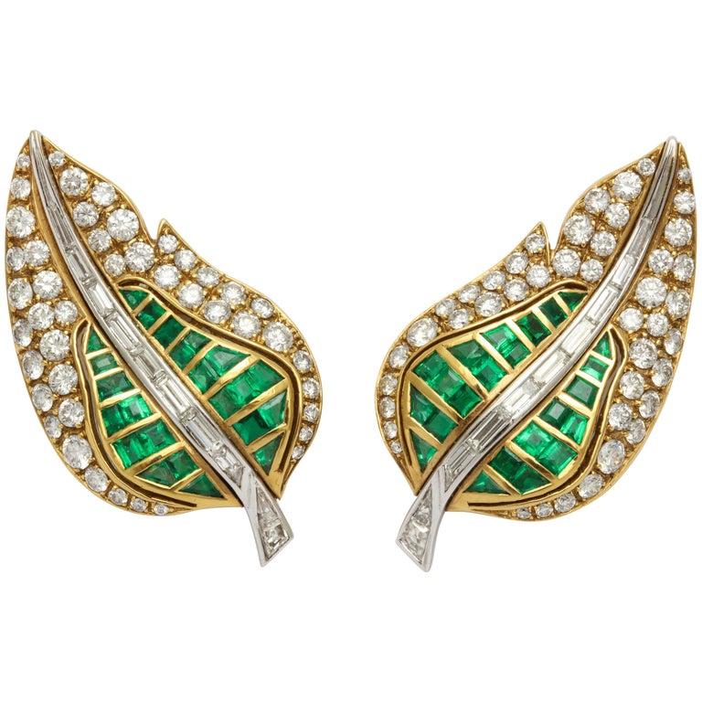 Fred Leighton Emerald Diamond Ear Clips For Sale