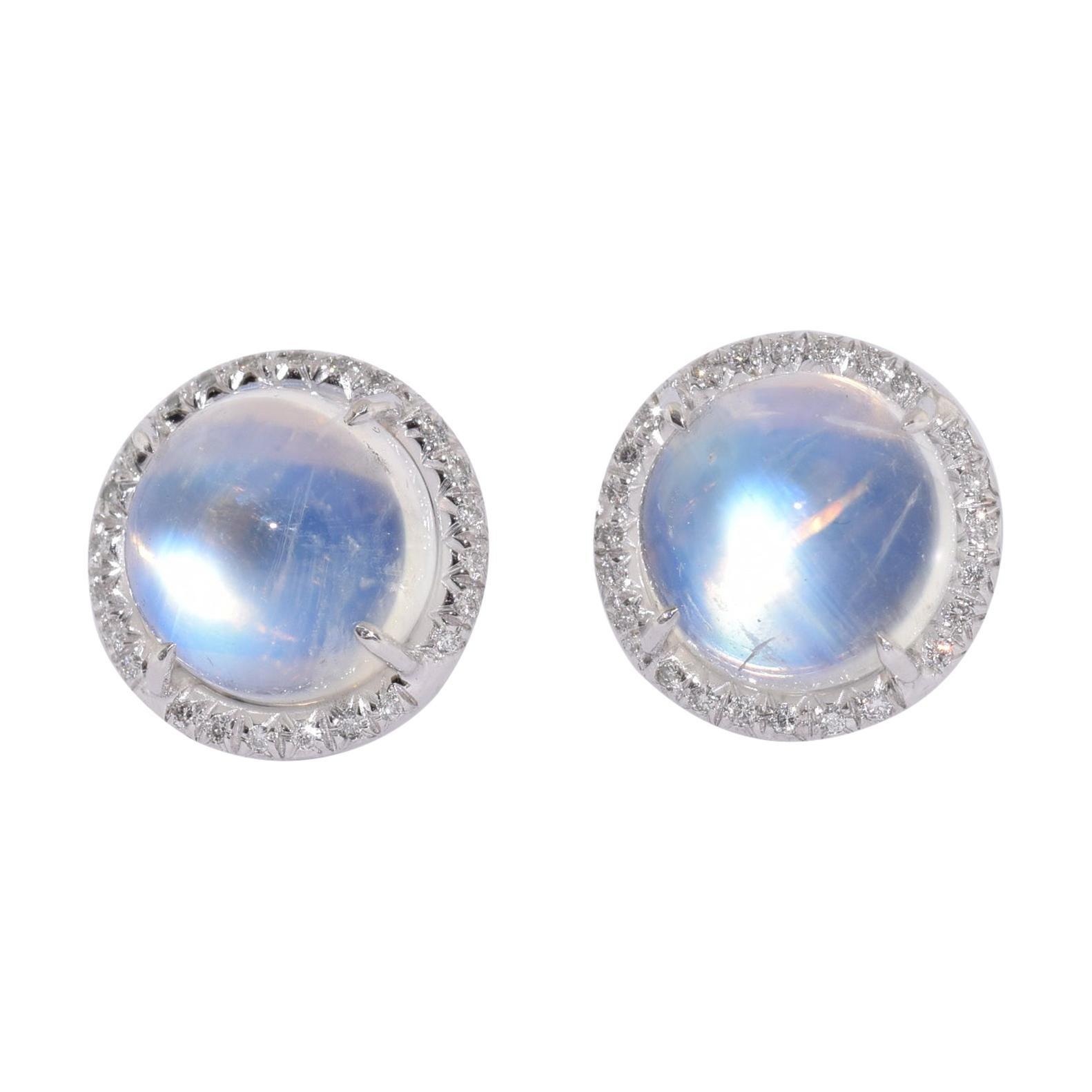 Fred Leighton Moonstone and Diamond Stud Earrings