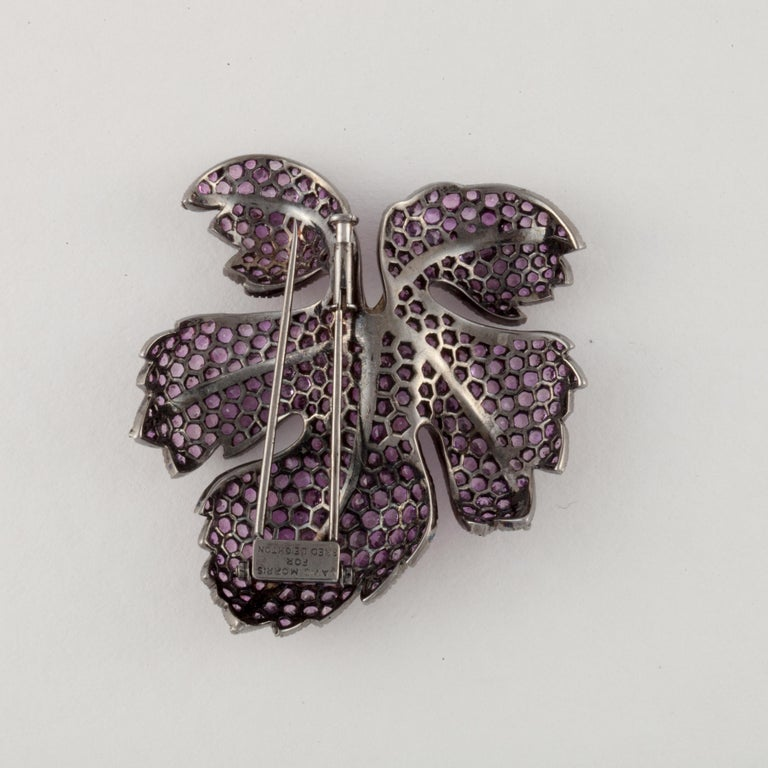 Fred Leighton Pink Sapphire Diamond Leaf Pin In Good Condition For Sale In Houston, TX