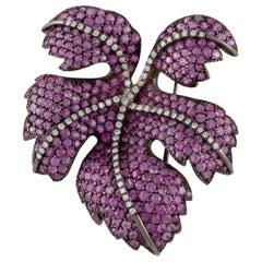 Fred Leighton Pink Sapphire Diamond Leaf Pin
