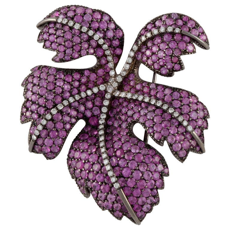 Fred Leighton Pink Sapphire Diamond Leaf Pin For Sale