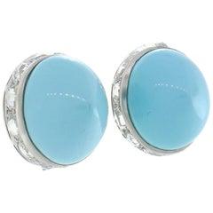 Fred Leighton Turquoise Diamond Platinum Earrings Clip-On