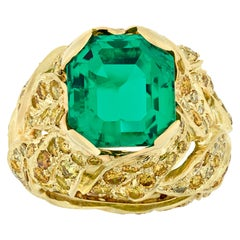 Fred Leighton Untreated 5.94 Carat Colombian Emerald Ring