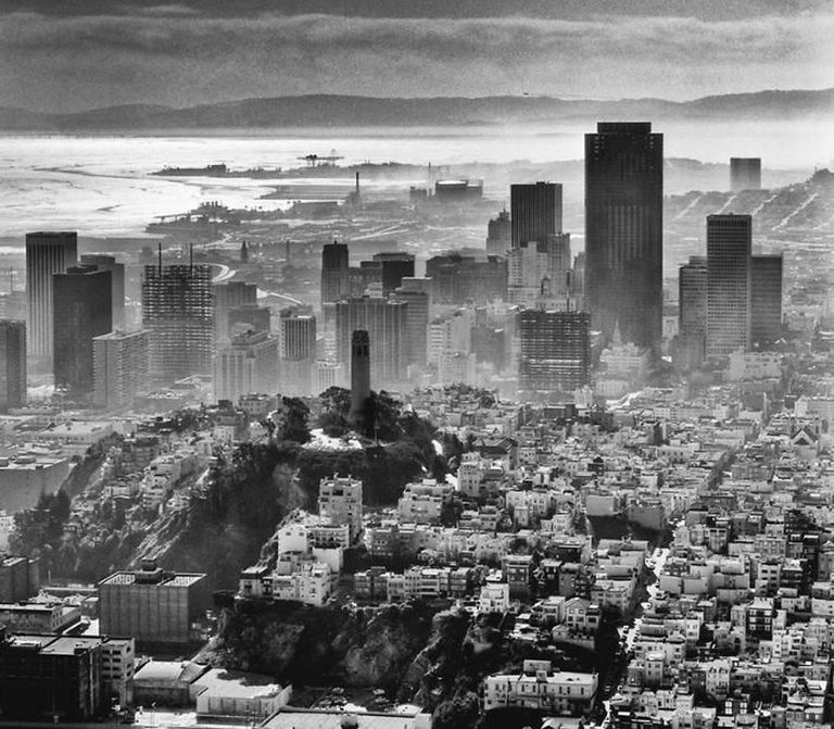 Fred Lyon Black and White Photograph - Coit Tower, atop Telegraph Hill, Downtown Skyline, San Francisco, CA