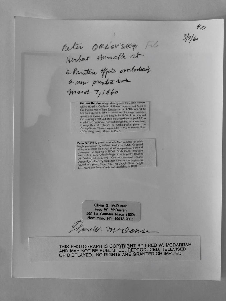 Peter Orlovsky and Herbert Huncke - March 7 1960   Over a 50-year span, McDarrah documented the rise of the Beat Generation, the city's postmodern art movement, its off-off-Broadway actors, troubadours, politicians, agitators and social