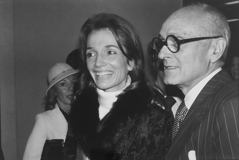 Signed Silver Gelatin Photograph Philip Johnson, Architect, Lee Radziwill, Photo - Black Black and White Photograph by Fred McDarrah