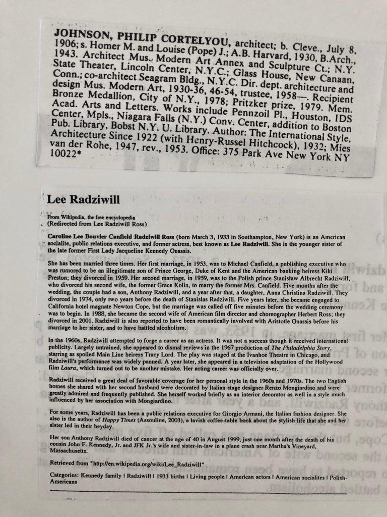 Signed Silver Gelatin Photograph Philip Johnson, Architect, Lee Radziwill, Photo For Sale 1