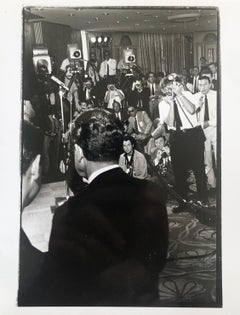 Vintage Print Silver Gelatin Signed Photo President Richard Nixon Meets Press