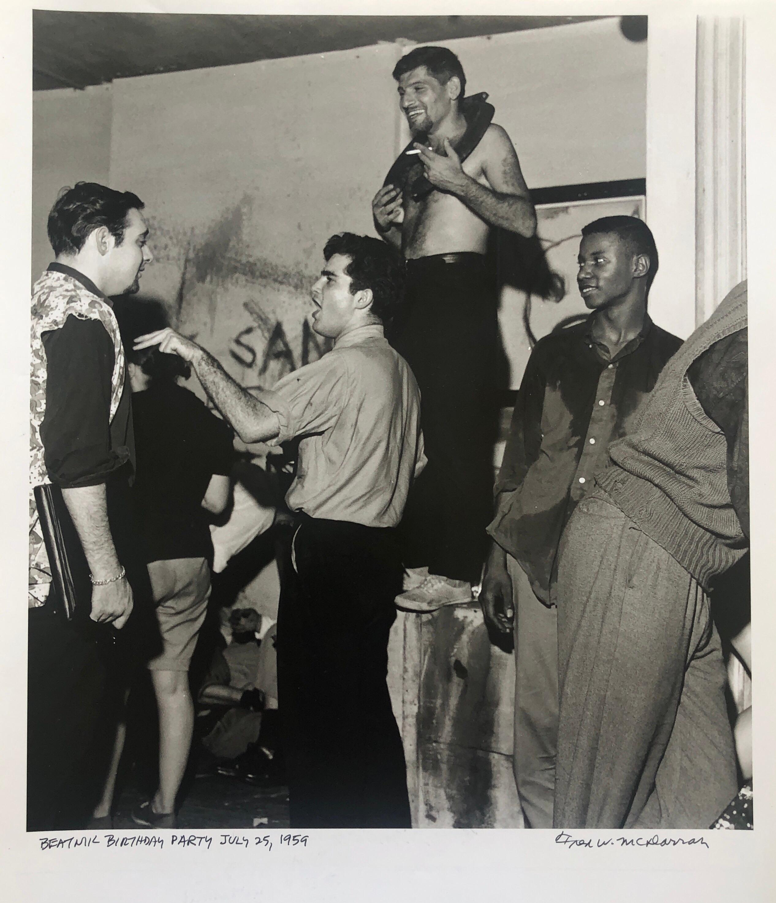 Vintage Print Silver Gelatin Signed Photograph 1959 Beatnik Birthday Party Photo