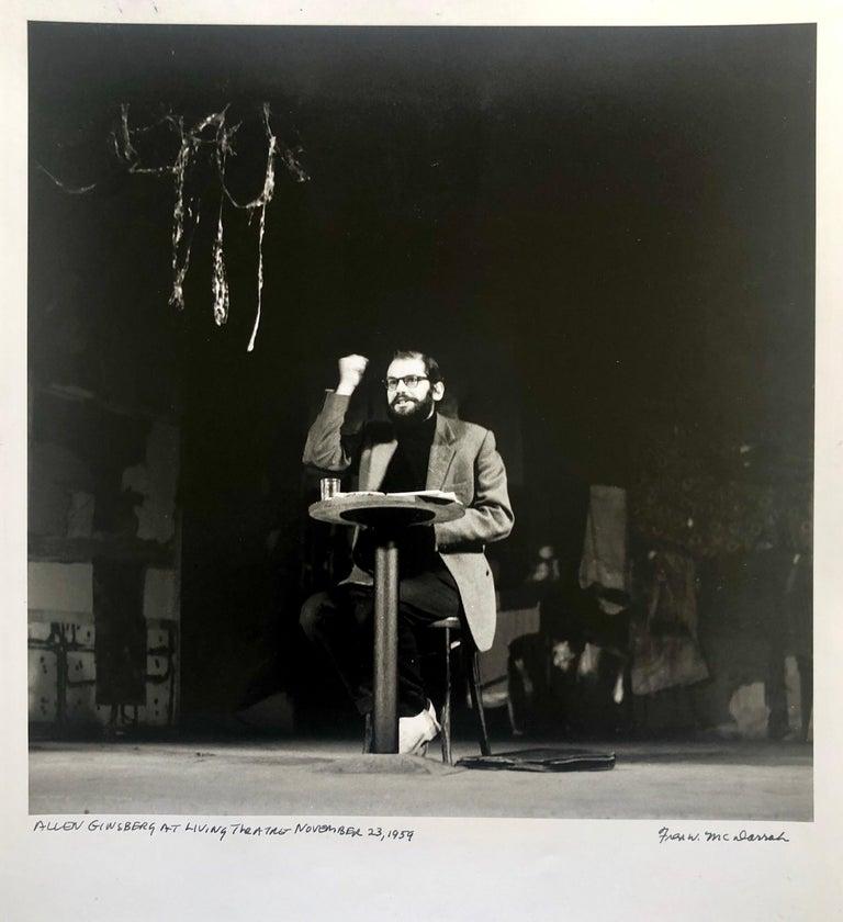 Fred McDarrah Figurative Photograph - Vintage Print Silver Gelatin Signed Photograph Poet Allen Ginsberg Howl Photo