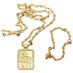 Fred of Paris 18 Karat Gold Diamond Aries Pendant and Chain