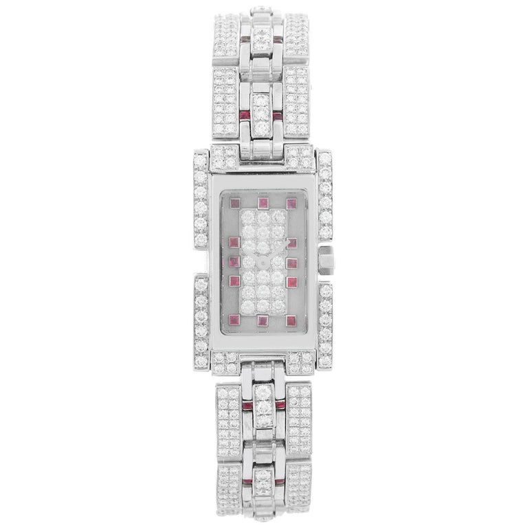 Fred of Paris 18 Karat White Gold Pave Diamond Ladies Watch For Sale